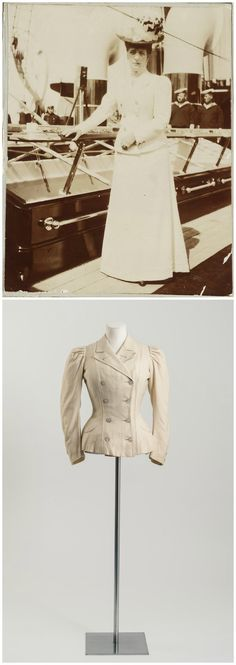Above: Photograph of Queen Alexandra on board a yacht, probably RY Victoria and Albert III, taken during the state visit to Reval (now Tallinn, Estonia), 1908. Via the Alexander Palace Time Machine discussion forum. Below: Cream wool tailored jacket, by Vernon, 1890s. Worn by Alexandra, Princess of Wales, at yacht regattas. Fashion Museum Bath, via @Fashion_Museum on Twitter.