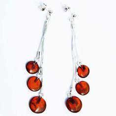 Stunning Baltic Honey Amber Earrings - Triple Chain Tablets with sterling