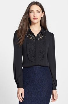 Diane von Furstenberg 'Lucia' Lace Bib Blouse available at #Nordstrom