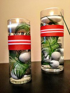 Golf centerpiece set of 3 choose ribbon by prettyfancydesigns golf party decorations, golf centerpieces, Golf Centerpieces, Golf Party Decorations, Party Themes, Party Ideas, Event Themes, Centerpiece Ideas, Table Decorations, Thema Golf, Golf Party Games
