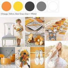 Orange, Yellow, and Grey. I think this one would be perfect for fall weddings!