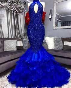 Royal Blue Feathers Mermaid Prom Dress, 2020 Elegant Cut-out High Neck Applique Beaded Prom Dresses, Plus Size African Graduation Evening Gowns, 595 Prom Girl Dresses, Mermaid Prom Dresses, Semi Dresses, Royal Blue Prom Dresses, Quince Dresses, Prom Outfits, Party Dresses, Blue Dresses, Wedding Dresses