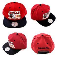 c56acfb3b00525 NBA Chicago Bulls 1991 Champions Mitchell and Ness Snapback Hat Cap Jordan  M N