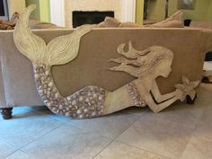 Large Hand Made Mermaid Wall Art with Shell by LucyDesignsonline, $300.00