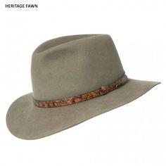 """From """"The Heritage Collection,"""" this hat is named after the popular Australian poet who wrote """"The Man From Snowy River"""". Hat is fully lined and shaped with a raw edge. Hatband is barramundi. Australian Icons, Australian Fashion, Fashion For Men Over 50, Akubra Hats, Man From Snowy River, Banjo, Hats For Men, Cowboy Hats, Texans"""