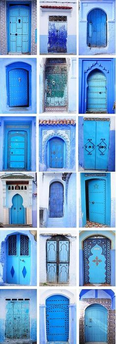Travel Inspiration for Morocco - Blue Moroccan Doors