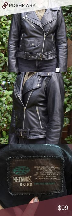 NETWIRKS SKINS LEATHER JACKET!! Excellent condition, multiple pockets inside and out!CLASSIC WOMENS LEATHER BIKER JACKET! Network Skins Jackets & Coats