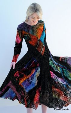 Mosiac Cut Velvet K Dress - Carter Smith Design Couture Outfits, Boho Outfits, Casual Outfits, Fashion Outfits, Fashion Sewing, Boho Fashion, Carter Smith, Clothing Photography, How To Dye Fabric