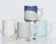 Unique Coffee Mugs | Gray Whale | Coffee Mugs | Trending Items | Gift for Boyfriend Handmade Ceramic from my Charleston, SC Studio  Fun Fact: The Blue Whale is the largest known mammal that has ever lived, and the largest living animal, at up to 110 feet long and 150 tons.  Hand painted, glazed, kiln fired and ready to place in your home.  This listing is for one mug, please choose your color. Measurement: 4.25 H x 5.25 W and hold upto 16 ounces of your favorite drink. 16 ounces.... thats 2…