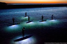 Night SUP with lights