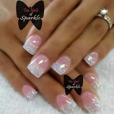 Nail art Christmas - the festive spirit on the nails. Over 70 creative ideas and tutorials - My Nails Sparkle Nails, Fancy Nails, Pink Nails, Glitter French Manicure, Glittery Nails, Pink Leopard Nails, Pink Glitter Nails, Gel Nails French, French Manicure Designs