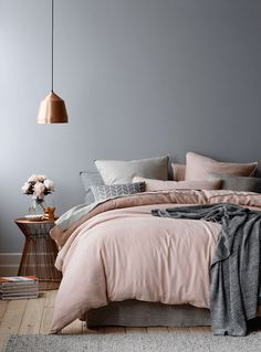 Pale Pink Contrast With Geometric Gray Accents