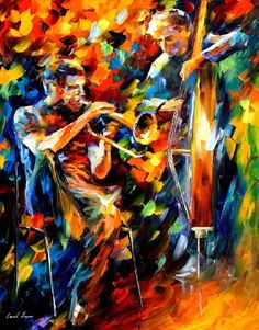 Jazz duo - palette knife oil painting on canvas by leonid afremov - size: 2 Modern Canvas Art, Canvas Artwork, Oil Painting On Canvas, Oil Paintings, Jazz Painting, Pastel Artwork, Colorful Artwork, Modern Artwork, Figure Painting