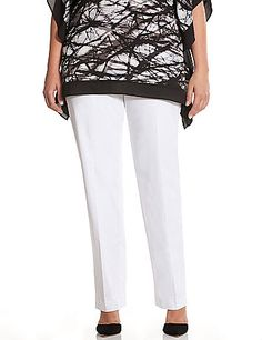 The universally-flattering straight leg pant has been redefined to align your shape in our curve-loving Lena silhouette. A timeless pick for office to weekend with a crisp leg crease for a tailored finish, our cool cotton Smart Stretch fabric hugs curves with substantial two-way stretch for a flattering fit. Front pockets. Button & zip fly closure with belt loops. lanebryant.com