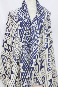 Blue and White Cotton Throw Blanket / Shawl or Wall Hanging /