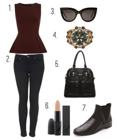 1.  Sleeveless Peplum Top  2.  Leigh Moto Jeans  3.  Sabre Vision Runaway Sunglasses  4.  Rachel Zoe Open Floral Bangle  5.  Mapleton Handbag  6.  MAC Carine Roitfeld Lipstick  7.  House of Harlow Stud Booties  (I don't like the boots thought. Heels for me!)