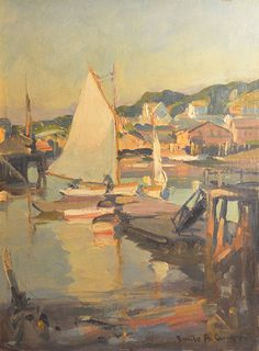 """""""The Float at Gloucester,"""" Emile Gruppé, oil on canvas board, 16 x 12"""", private collection."""