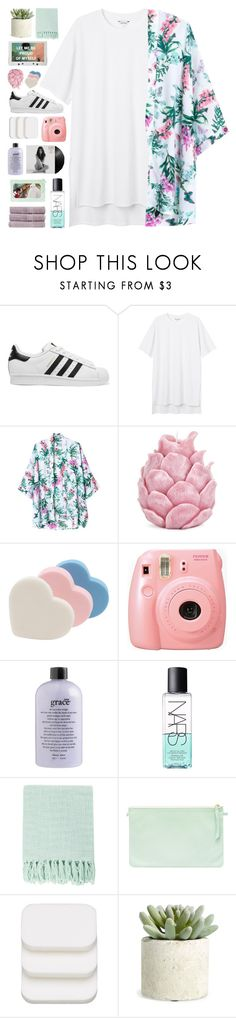 """""""COMING UP FOR AIR"""" by elainesabine ❤ liked on Polyvore featuring adidas Originals, Monki, Zara Home, philosophy, NARS Cosmetics, Surya, COVERGIRL, Allstate Floral, Christy and nias5kfgiveaway"""
