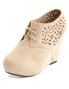 Sueded Laser-Cut Wedge Bootie: Charlotte Russe