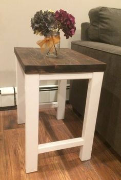 home furniture pottery barn inspired end table, outdoor living, painted furniture Western Furniture, Rustic Furniture, Living Room Furniture, Painted Furniture, Home Furniture, Living Room Decor, Outdoor Furniture, Antique Furniture, Basement Furniture