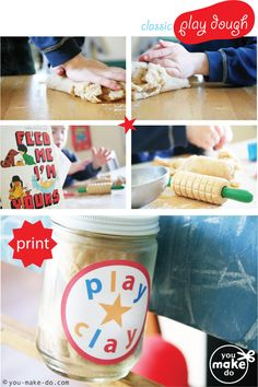 homemade playdough gift idea + play dough jar label printable!  A good fundraising idea.