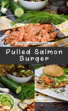 Rezept - Pulled Salmon Burger Burger Co, International Recipes, Salmon Recipes, Pulled Pork, Salmon Burgers, How To Lose Weight Fast, Keto Recipes, Good Food, Food And Drink