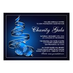 Elegant Christmas Charity Event Invitations