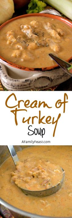 Cream of Turkey Soup - A Family Feast® Cream of Turkey Soup - This soup is the ultimate comfort food and a delicious way to cook with leftover Thanksgiving turkey! Cream Of Turkey Soup, Turkey Soup From Carcass, Thanksgiving Recipes, Fall Recipes, Great Recipes, Thanksgiving Turkey, Favorite Recipes, Thanksgiving Decorations, Christmas Recipes
