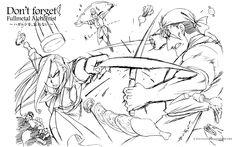 Tags: SQUARE ENIX, Fullmetal Alchemist, Sketch, Fullmetal Alchemist Brotherhood, Scar (FMA), Olivier Mira Armstrong, Official Art, Miles, Buccaneer (Fma)