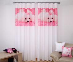 Ružovo biele závesy s roztomilým psíkom