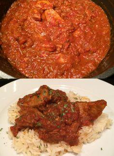 Winterse stoofschotel met tomaat, vlees en nasikruiden