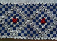 Bordado em tecido xadrez - Amostra/Barrinha Bordada (Detalhes sobre o bordado... Visitar) Embroidery Stitches, Hand Embroidery, Chicken Scratch Patterns, Beach Crochet, Crochet Wedding, Wrap Pattern, Hippie Boho, Needlework, Crochet Patterns