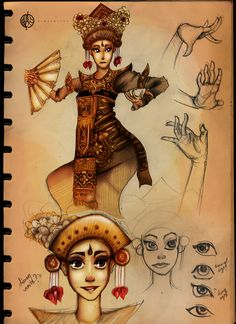 Balinese dancer illustration Bali Painting, My Character, Learn To Paint, Vintage Pictures, Cartoon Characters, Om, Dancer, June, Sketch
