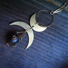 Viking double horn crescent moons and jasper cage by bluetribe