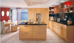 Natural Kitchen Designs With Islands Used Bright Wooden Material Equipped With Light Color Of Wooden Material