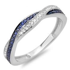 Share for $20 off your purchase of $100 or more! 0.25 Carat (ctw) 18K White Gold Round White Diamond and Blue Sapphire Ladies Stackable Anniversary Wedding Band Swirl Ring 1/4 CT - Dazzling Rock #https://www.pinterest.com/dazzlingrock/