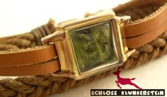 PURE GREEN antique goldfilled watchcase moss terrarium mini wood world with braided bracelet