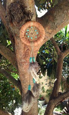attrape rêves bois et cuir - ref: DC 160507 de la boutique IndianHeritageArts sur Etsy