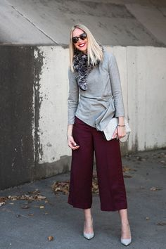 Fall color palette - love those burgundy culottes!