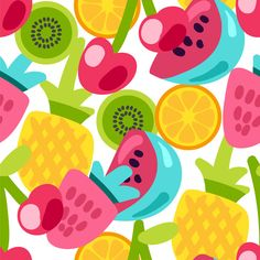 Discover thousands of Premium vectors available in AI and EPS formats Pop Art Colors, Food Patterns, Fruit Pattern, Summer Design, Kids Prints, Summer Fruit, Food Illustrations, Textile Prints, Cartoon Styles