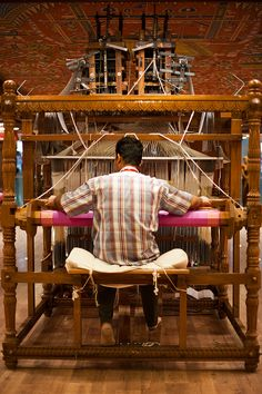 A talented artist probably wove my saree on a loom much like this.