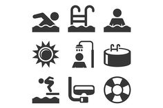 Swimming Pool Icons Set. Clothes Icons