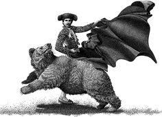 Michael Halbert: Scratchboard illustration showing the idea of controlling a bear market.