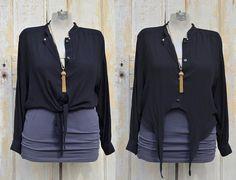 Vintage Black Tie Front Button Down Blouse - Large. $22.00, via Etsy.