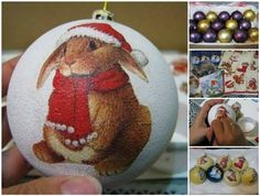 How to Decoupage Christmas Ball Ornament with Napkins (Video) | www.FabArtDIY.com LIKE Us on Facebook ==> https://www.facebook.com/FabArtDIY