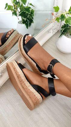 Daisy Strappy Platform Sandals at ikrush Sandals Outfit, Shoes Sandals, Sandal Wedges, Sandals Platform, Platform Wedge, Women Sandals, Black Sandals, Black Shoes, Summer Wedge Sandals