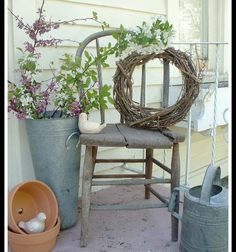 I have several wooden Antique Chairs that I have had many, many years. I enjoy decorating with them, they easily tuck into a corner to fill space. And give a little splash of color here or there. It was well past time, to give our Front Porch a little make-over. I started with one of the Antique …