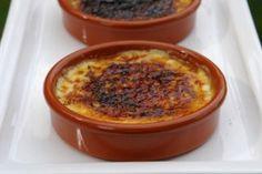 Crema catalana is a Spanish custard dessert very similar to crème brulee. This dessert is made with milk, cream, egg yolks, sugar, vanilla, orange peel, and cinnamon.