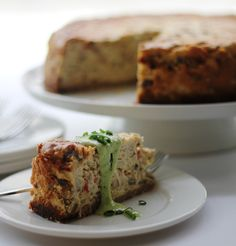 Crab And Wild Mushroom Cheesecake With Green Onion Coulis