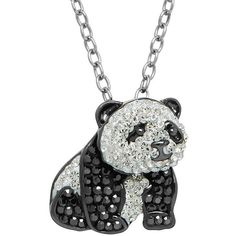 Animal Planet Sterling Silver Crystal Panda Pendant Necklace ($200) ❤ liked on Polyvore featuring jewelry, necklaces, black, crystal pendant necklace, crystal necklace pendant, lobster clasp charms, sterling silver chain necklace and lobster claw clasp charms